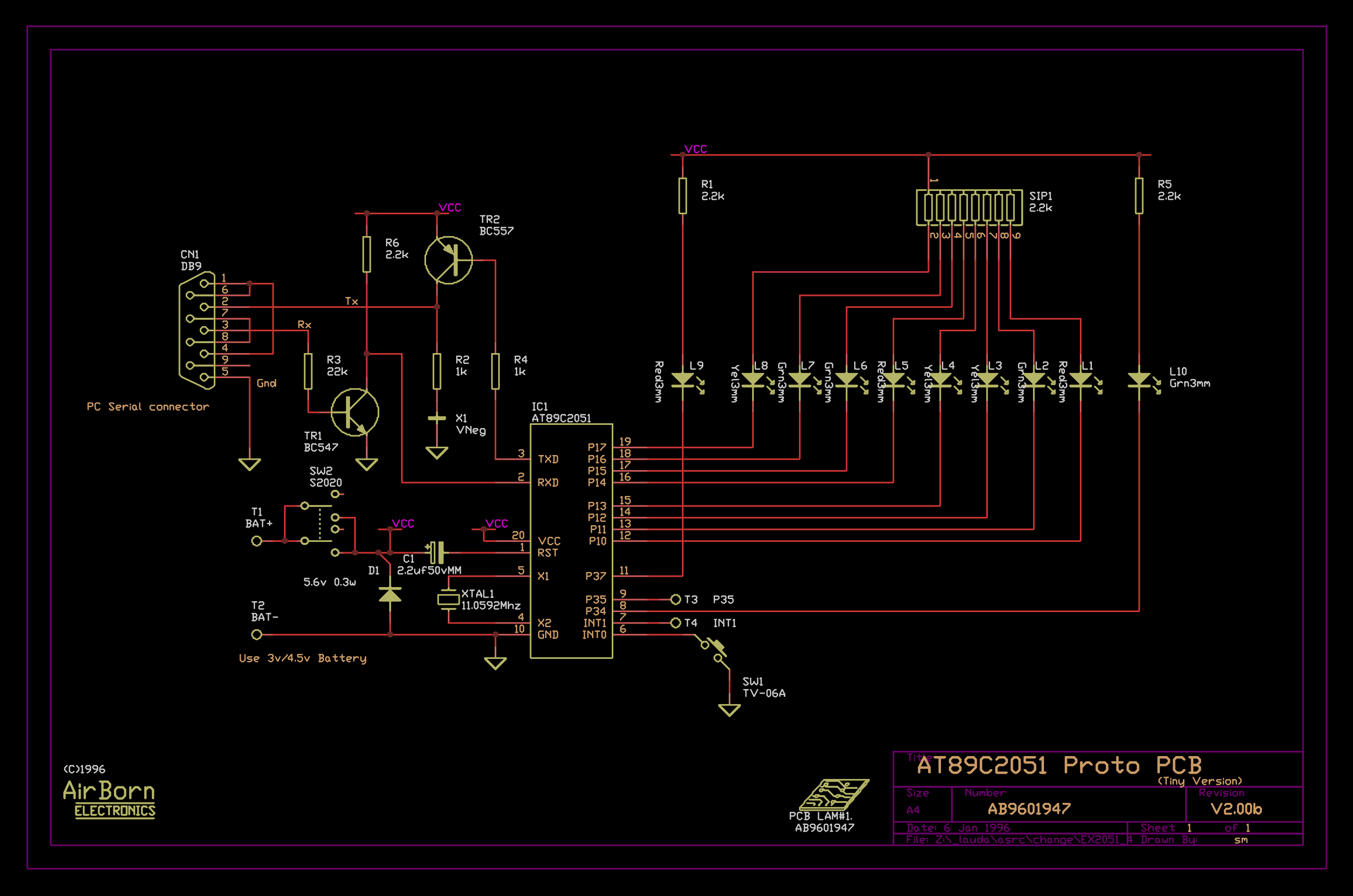 Circuit Design Collection Airborn Electronics Electronic With Pcb Layout Diagram Parts List
